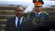 Mozambique's President Filipe Nyusi is saluted as he is sworn-in for a second term in Maputo, Mozambique January 15, 2020…