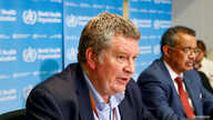 FILE PHOTO: Executive Director of the World Health Organization's (WHO) emergencies program Mike Ryan speaks at a news…