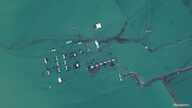 A satellite image shows flooded homes near the Uzbekistan-Kazakhstan border following the collapse of the Sardoba dam in…