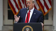 President Donald Trump speaks in the Rose Garden of the White House, Friday, May 29, 2020, in Washington. (AP Photo/Alex…