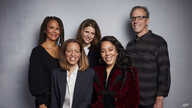 """FILE - Sil Lai Abrams, back row from left, director Amy Ziering, director Kirby Dick, Drew Dixon, seated left, and Sheri Hines pose for a portrait to promote the film """"On the Record"""" at the Music Lodge during the Sundance Film Festival in Park City, Utah."""