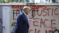President Donald Trump walks from the White House through Lafayette Park to visit St. John's Church Monday, June 1, 2020, in…