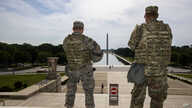 Members of the District of Columbia Army National Guard stand guard at the Lincoln Memorial in Washington, June 3.