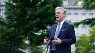 National Security Advisor Robert O'Brien speaks to reporters outside of the West Wing of the White House in Washington, DC on…