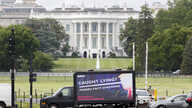 IMAGE DISTRIBUTED FOR AVAAZ - A moving billboard with an image of President Trump as Pinocchio circles the White House Thursday…