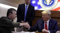 President Donald Trump participates in a briefing with North Carolina Gov. Roy Cooper about Hurricane Dorian at Marine Corps…