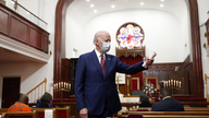 Democratic presidential candidate, former Vice President Joe Biden speaks to members of the clergy and community leaders at…