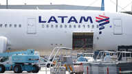 The logo of LATAM Airlines is pictured on an Airbus plane in Colomiers near Toulouse, France, November 6, 2018. REUTERS/Regis…