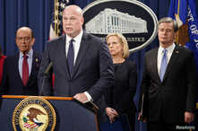 Acting Attorney General Matthew Whitaker,  Commerce Secretary Wilbur Ross, from left, Homeland Security Secretary Kirstjen Nielsen and FBI Director Christopher Wray hold a news conference to announce indictments against China's Huawei Technologies Co