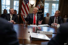 Acting Secretary of the Interior David Bernhardt, left, and acting Secretary of Defense Patrick Shanahan, right, listen as President Donald Trump speaks during a Cabinet meeting at the White House, Jan. 2, 2019, in Washington.