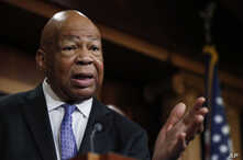 Rep. Elijah Cummings, D-Md., speaks to reporters during a news conference on Capitol Hill in Washington, April 27, 2017.