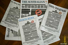 "Front pages of Australian major newspapers show a 'Your right to know"" campaign, in Canberra."