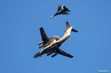 Russian Air Force Beriev A-50 early warning aircraft and Sukhoi Su-27 jet fighter fly in Kaliningrad, Russia April 25, 2020…