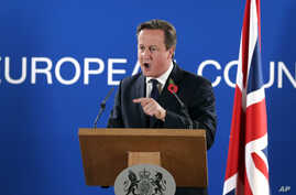 British Prime Minister David Cameron speaks during a media conference after an EU summit at the EU Council building in Brussels, on Friday, Oct. 24, 2014.