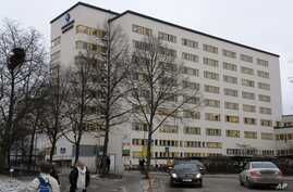FILE - The exterior of the University Hospital in Enkoping, Sweden, is seen in this Feb. 4, 2009 photo.  Officials say a Swedish hospital has reported a suspected case of the deadly Ebola virus; results of the medical test are expected Jan. 4, 2019.
