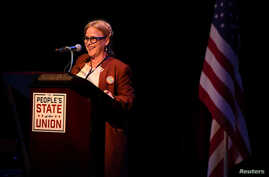 """Actress Patricia Arquette speaks during the """"People's State of the Union"""" event one day ahead of President Trump's State of The Union Speech to Congress, in Manhattan, New York, Jan. 29, 2018."""