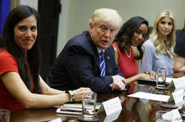 President Donald Trump speaks during a meeting with women small business owners in the Roosevelt Room of the White House, in Washington, March 27, 2017.