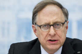 NATO Deputy Secretary-General Alexander Vershbow speaks during a media conference in Vilnius, Lithuania, March 24, 2016.