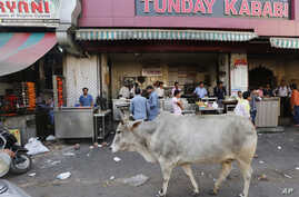 A cow walks in front of Tundey Kababi,  a 105-year-old kabab institution in Lucknow, India, March 31, 2017.