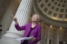 Sen. Elizabeth Warren, D-Mass. reacts to being rebuked by the Senate leadership and accused of impugning a fellow senator, Attorney General-designate, Sen. Jeff Sessions, R-Ala., Feb. 8, 2017, on Capitol Hill in Washington.
