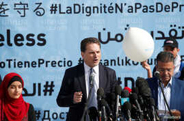 UNRWA Commissioner-General Pierre Krahenbuhl speaks during a news conference at a UN-run school in Gaza City, Jan. 22, 2018.