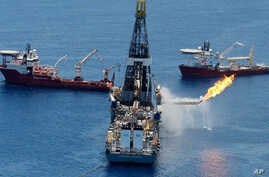 The Transocean Discoverer Enterprise drillship burns off gas collected at the BP Deepwater Horizon oil spill on June 25, 2010 in the Gulf of Mexico off the coast of Louisiana (file photo)