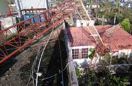Damage done to VOA Creole affiliate station Radio Tele Nami in Les Cayes, Haiti, after Hurricane Matthew ravaged the country, Oct. 7, 2016. (Photo courtesy Radio Tele Nami, Les Cayes)