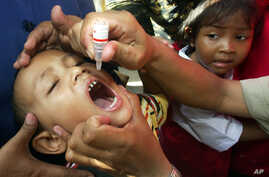 FILE - An Indonesian boy is given polio vaccine in Jakarta, Indonesia, Nov. 30, 2005.