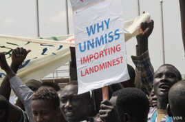 An anti-U.N. sign at a youth rally in Juba on March 10, 2014.