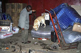 A police dog handler allows his sniffer dog to check out the luggage and goods which lie outside the Kampala-bound bus after the bomb blast in Nairobi, Kenya, Dec 20, 2010