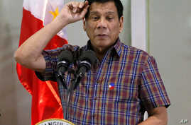 FILE - Philippine President Rodrigo Duterte, Pasay city, south of Manila, Philippines,  Aug. 31, 2016.