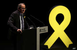 Regional Catalan President Quim Torra delivers a speech in Barcelona, Spain, Sept. 4, 2018.
