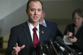 The House Intelligence Committee's ranking member Rep. Adam Schiff, D-Calif. speaks to reporters on Capitol Hill, March 7, 2017. As congressional investigations into Russia's interference in the 2016 election are ramping up, so is the political div...
