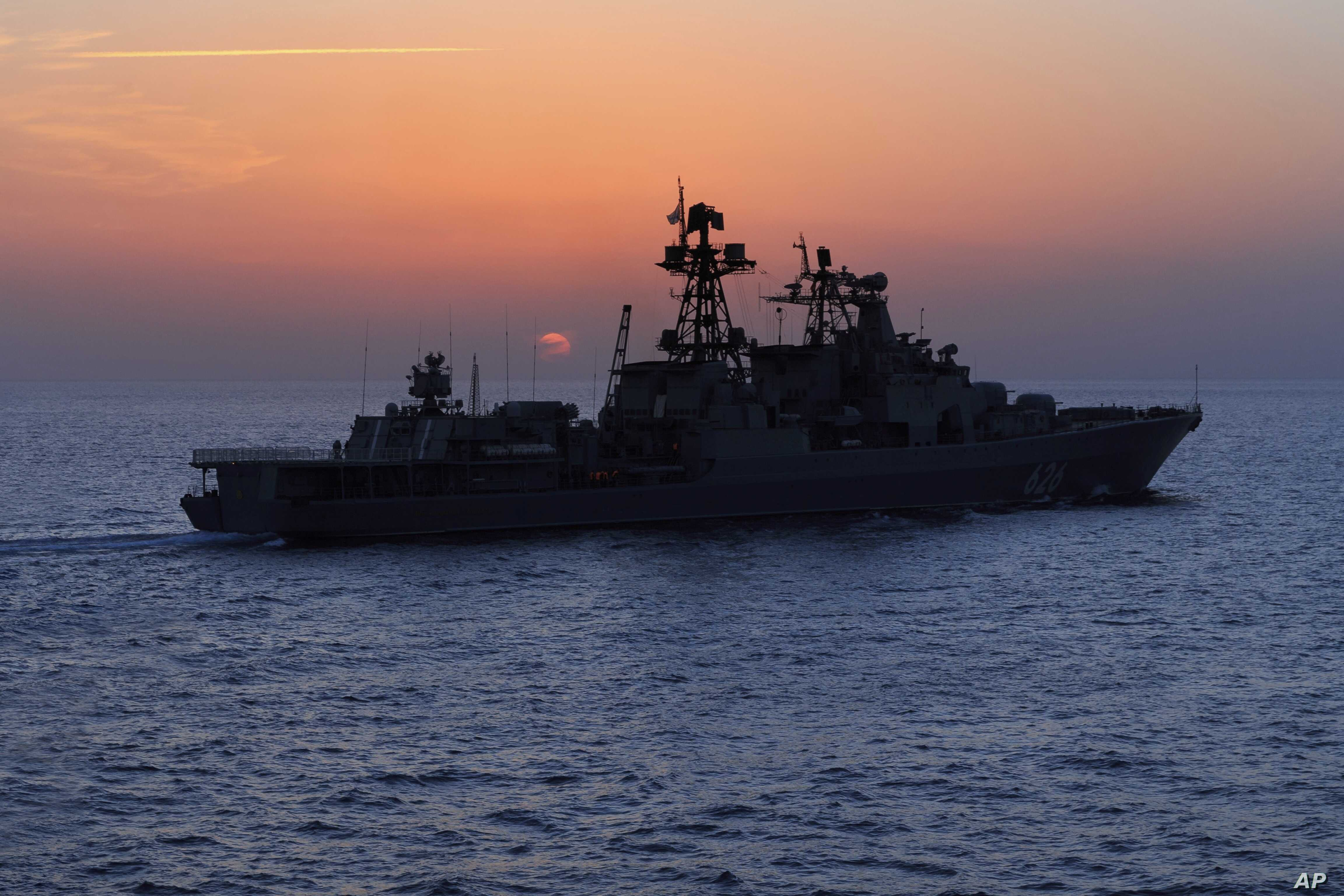 FILE - The Russian navy destroyer Vice Admiral Kulakov is seen on patrol in the eastern Mediterranean, Jan. 21, 2016. The Russian Defense Ministry says two Russian navy destroyers, the Kulakov and the Severomorsk, drove away a Dutch submarine in the
