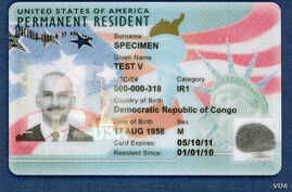 The front of the new tamper-resistant green cards issued by U.S. Citizenship and Immigration Services. (Photo courtesy of USCIS)