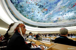 Dave Archambault, chairman of the Standing Rock Sioux tribe, waits to speak against the Energy Transfer Partners' Dakota Access oil pipeline during the Human Rights Council session at the United Nations in Geneva, Switzerland, Sept. 20, 2016.