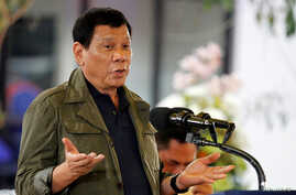 FILE - Philippine President Rodrigo Duterte speaks during a visit in Baguio city, Philippines, March 11, 2017.