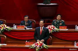 Vietnam's Prime Minister Nguyen Tan Dung (C, bottom) speaks during the opening ceremony of the 12th National Congress of Vietnam's Communist Party in Hanoi, Vietnam, Jan. 21, 2016.