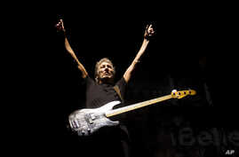 FILE - Roger Waters, formerly of the English rock band Pink Floyd, performs March 29, 2012,  in Rio de Janeiro, Brazil. Waters, Paul McCartney, The Rolling Stones, Neil Young, The Who and Bob Dylan will perform for Desert Trip, which kicks off Friday