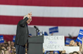 Democratic presidential candidate Sen. Bernie Sanders of Vermont speaks at a campaign stop in Madison, Wis., March 26, 2016.