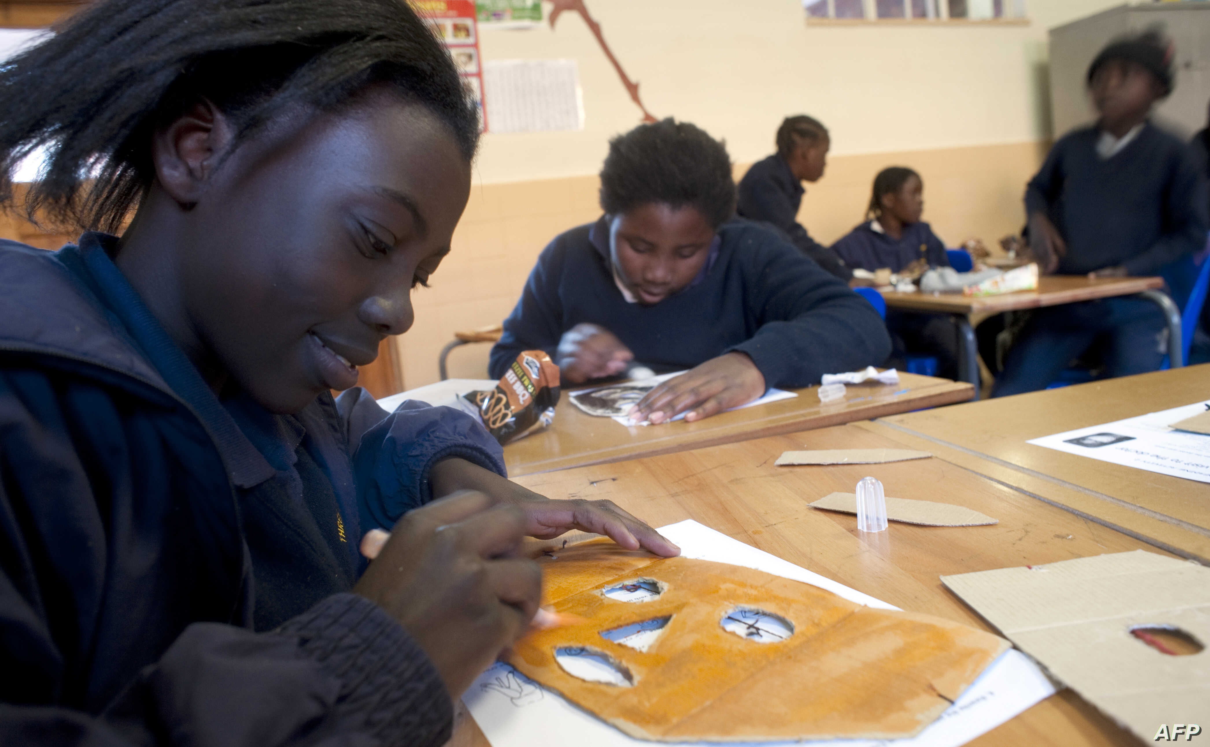Schoolchildren attended classes at the Sacred Heart College in Johannesburg.
