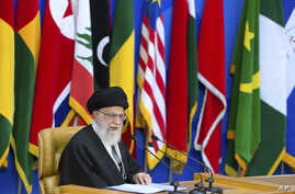 """Iran's supreme leader Ayatollah Ali Khamenei delivers a speech at a conference titled """"international conference in support of Palestinian Intifada"""" in Tehran, Iran, Feb. 21, 2017."""