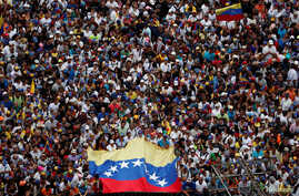 Opposition supporters take part in a rally against Venezuelan President Nicolas Maduro's government, in Caracas, Venezuela Jan. 23, 2019.