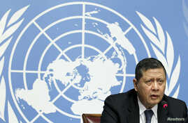 FILE - U.N. Special Rapporteur Marzuki Darusman addrrsses a news conference on the situation of human rights in North Korea in Geneva, March 16, 2015.