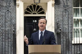 British Prime Minister David Cameron makes a statement appealing for people to vote to remain in the European Union outside 10 Downing Street in London, June 21, 2016. Britain votes whether to stay in the EU in a referendum on Thursday.