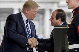 President Donald Trump greets Egyptian President Abdel Fattah Al-Sisi as he arrives at the White House in Washington, April 3, 2017.