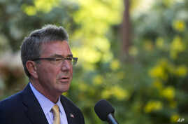 U.S. Defense Secretary Ash Carter speaks at a press conference during a defense ministers meeting of ASEAN countries, Sept. 30, 2016 in Kapolei, Hawaii.