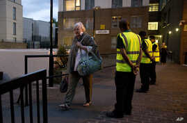 Residents are evacuated from the Taplow residential tower block on the Chalcots Estate, in the borough of Camden, north London, June 23, 2017. A local London council has decided to evacuate 800 households in apartment buildings it owns because of saf