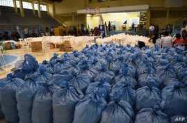 Sacks containing relief food packs to be distributed to typhoon-affected residents are seen at a hall as Super Typhoon Mangkhut approaches the city of Tuguegarao, Cagayan province, north of Manila on Sept. 14, 2018.