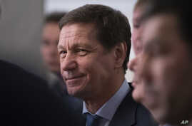 "FILE - Russian Olympic Federation President Alexander Zhukov, pictured in February 2016, attended Saturday's All-Russian Olympic Day in Moscow. He was reluctant to discuss the doping scandal but said, ""We will continue to work to let our clean athlet"